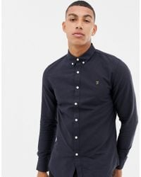 Farah - Brewer Slim Fit Oxford Shirt In Navy - Lyst