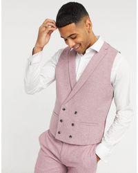 TOPMAN Slim-fit Wool Suit Waistcoat - Pink