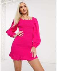 NA-KD Платье Мини Цвета Фуксии С Пышными Рукавами -розовый