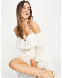 Forever New Off Shoulder Ruffle Mini Dress With Tiered Sleeve - White
