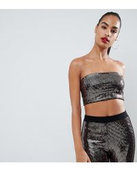 d4c7f4f174d17a Missguided Carli Bybel X Gold Chain Mail Bandeau Bralet in Metallic ...