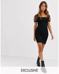 New Look Organza Puff Sleeve Mini Dress - Black
