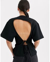 ASOS Seam Front Backless T-shirt - Black