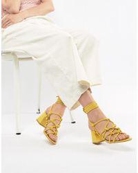 Public Desire - Freya Yellow Mid Heeled Sandals - Lyst
