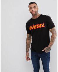 DIESEL - T-just-sh Flame Logo T-shirt - Lyst