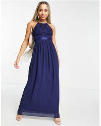 TFNC London Темно-синее Платье Макси Со Складками -темно-синий