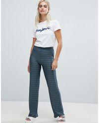Pieces - Metallic Stripe Wide Leg Trousers - Lyst