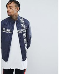 Love Moschino Cross Body Logo Jacket - Blue