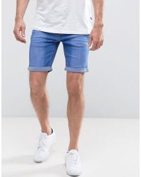 Blend - Bright Blue Denim Shorts - Lyst