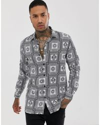 The Couture Club Long Sleeve Shirt With All Over Print - Black
