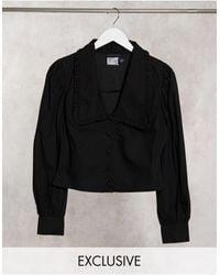 Reclaimed (vintage) Inspired Frill Collar Shirt - Black