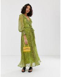 Ghost Everley Snake Print Georgette Maxi Dress - Green