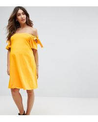 ASOS - Off Shoulder Dress With With Tie Sleeve Detail - Lyst