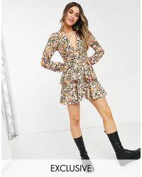 John Zack Exclusive Plunge Front Tiered Ruffle Mini Dress - Multicolour