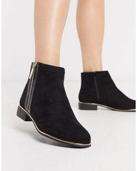 Lipsy Gold Zip Detail Flat Boot - Black