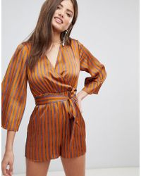 Fashion Union - Playsuit With Tie Waist - Lyst
