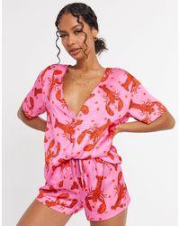 ASOS Розовая Атласная Пижама Из Рубашки И Шортов С Принтом Омаров - Розовый