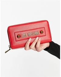 Love Moschino Portafoglio lungo rosso con borchie