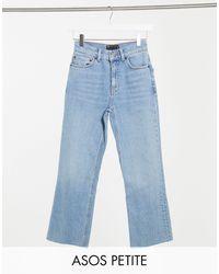 ASOS Asos Design Petite High Rise Stretch 'effortless' Crop Kick Flare Jeans - Blue