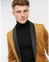 Moss Bros Moss London - Veste habillée en velours - Camel - Multicolore