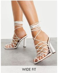 ASOS Wide Fit Pearl Caged Tie Leg High Shoes - White