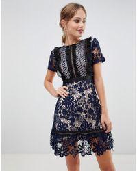 Liquorish - Lace Mini Dress With Contrast Lining - Lyst