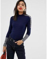 MAX&Co. Contrast Cuff Roll Neck Jumper - Blue