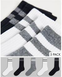 Brave Soul 5 Pack Sport Socks With Stripe Detail - Black