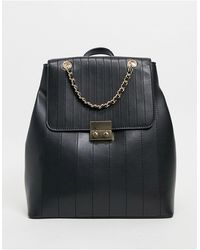 ASOS Black Quilted Backpack With Chain Detail