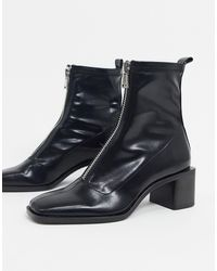 Stradivarius Ankle Boot With Zip Detail - Black