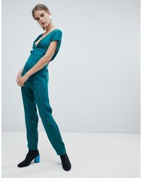 New Look Knot Front Jumpsuit - Green