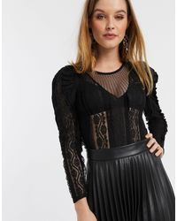 River Island Long Sleeve Lace Bodysuit With Puff Sleeves - Black