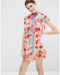 ASOS - Floral Ruffle Mini Shift Dress With Neck Tie - Lyst