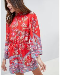 Miss Selfridge Romper With High Neck - Red