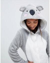 ASOS - Lounge Koala Hooded Onesie With Ears - Lyst