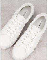 AllSaints Trish Leather Platform Trainers - White