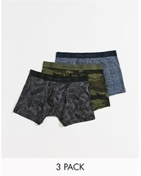Abercrombie & Fitch 3 Pack Camo Florals Trunks - Grey