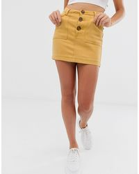 Missguided Co-ord Denim Mini Skirt - Yellow