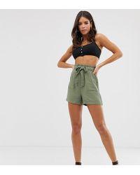 New Look Twill Short In Khaki - Green