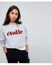SELECTED Femme Slogan Sweatshirt - Gray