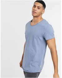 Jack & Jones Essentials - T-shirt Met Onafgewerkte Zoom - Blauw