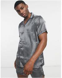 ASOS Атласная Пижама В Классическую Полоску С Рубашкой И Шортами - Серый