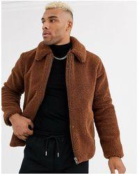 TOPMAN Teddy Fleece Coat - Brown