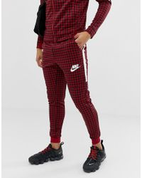 Nike - Gingham Check Joggers In Red Bq0676-618 - Lyst