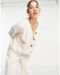 TOPSHOP Knitted Co Ord V Neck Cardigan - Natural
