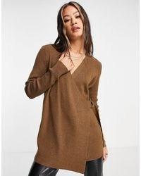 Object Wrap Cardigan With Buckle Detail - Brown