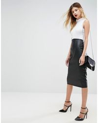 ASOS Sculpt Me Leather Look High Waist Pencil Skirt - Black