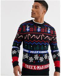 JACK /& JONES Pannel Mens Jumper Crew Neck Long Knitted Pull Over Sweater