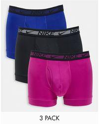 Nike Набор Из 3 Пар Боксеров-брифов Из Микрофибры В Черном, Темно-синем И Розовом Цветах -многоцветный