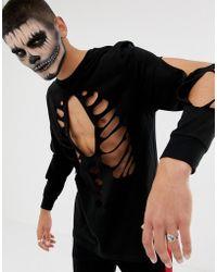 ASOS T-shirt nera comoda a maniche lunghe per Halloween con cut-out sul torace - Nero